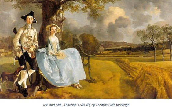 """English Gentry by popular US professional genealogists, Price Genealogy: image of the painting """"Mr. and Mrs. Andrews"""" by Thomas Gainsborough."""