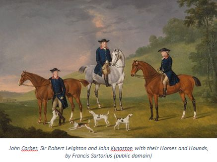 English Gentry by popular US professional genealogists, Price Genealogy: image of a painting of John Corbet Sir Robert Leighton and John Kynaston with their Horses and Hounds by Francis Sartorius.