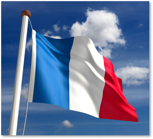 French Genealogy Records by popular US online genealogists, Price Genealogy: image of the French flag.