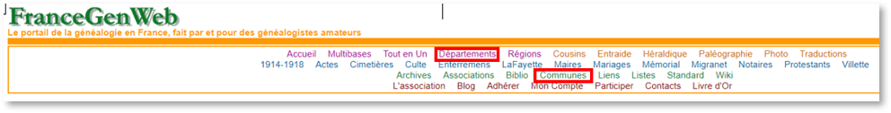 French Genealogy Records by popular US online genealogists, Price Genealogy: image of FranceGen Web.