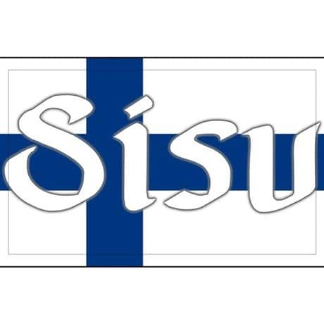 Finland Genealogy by popular US online genealogists, Price Genealogy: image of the Finnish flag with the word SISU on it.