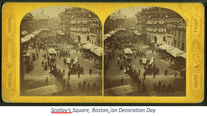 Memorial Day Genealogy by popular US online genealogists, Price Genealogy: image of Scollay's Sqare in Boston, Mass.