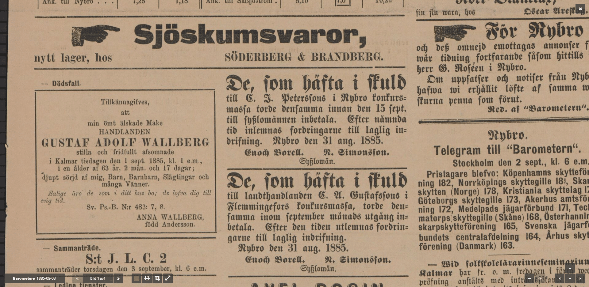 Swedish Genealogy by popular US online genealogists, Price Genealogy: image of a Swedish newspaper clipping.