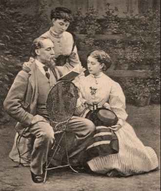 Inspirational Father Quotes by popular US online genealogists, Price Genealogy: black and white image of Charles Dickens and his two daughters.