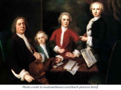 Inspirational Father Quotes by popular US online genealogists, Price Genealogy: image of a painted of Johann Sebastian Bach and his kids.
