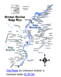 German genealogy by popular US online genealogists, Price Genealogy: image of a German Volga area map.