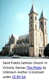 German genealogy by popular US online genealogists, Price Genealogy: image of Sain Fidelis Catholic Church in Victoria, Kansas.