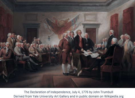 Sons of the American Revolution by popular US online genealogists, Price Genealogy: image of The Declaration of Independence by John Trumbull.
