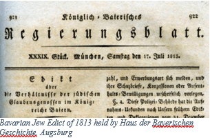 Jewish Genealogy by popular US online genealogists, Price Genealogy: image of the Bavarian Jew Edict of 1813.