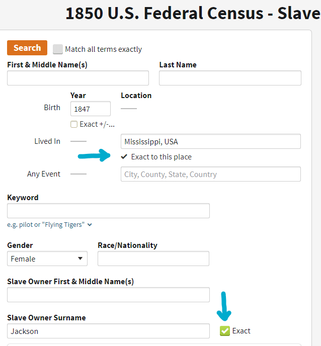 African American Genealogy by popular US online genealogists, Price Genealogy: image of a online U.S. federal census.