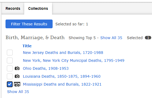 African American Genealogy by popular US online genealogists, Price Genealogy: image of a online genealogy collections section.