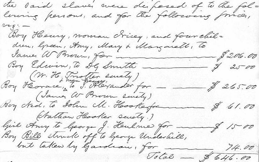 African American Genealogy by popular US online genealogists, Price Genealogy: image of a slave record page.