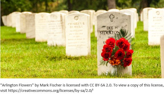 Cemetery Records by popular US online genealogists, Price Genealogy: image of flowers in front of a headstone at Arlington cemetery.